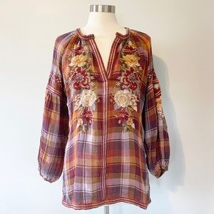 Johnny Was Floral Embroidered Plaid Blouse
